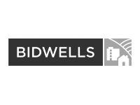Image shows the black and white logo for Bidwells
