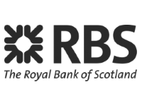 Image shows the black and white logo for The Royal Bank of Scotland