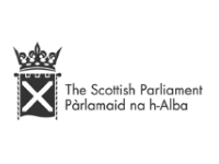 Image shows the black and white logo for The Scottish Parliament