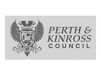 Image shows the black and white logo for Perth and Kinross Council