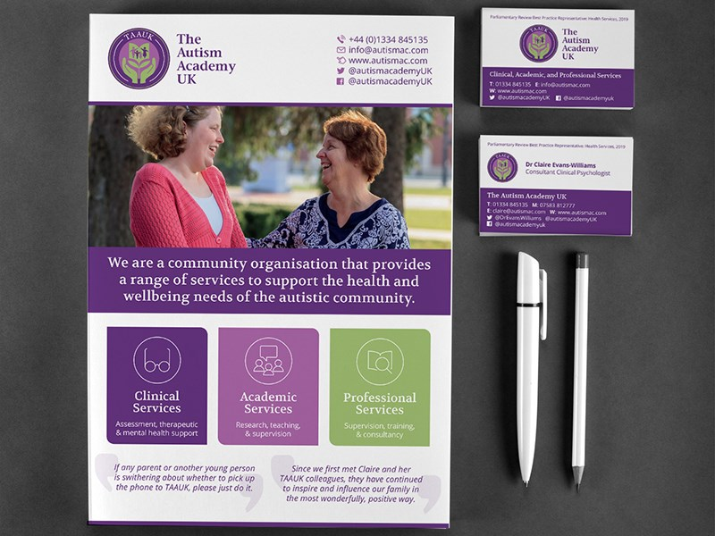 Image shows a representation of A5 Flyers and Business Cards designed for The Autism Academy UK