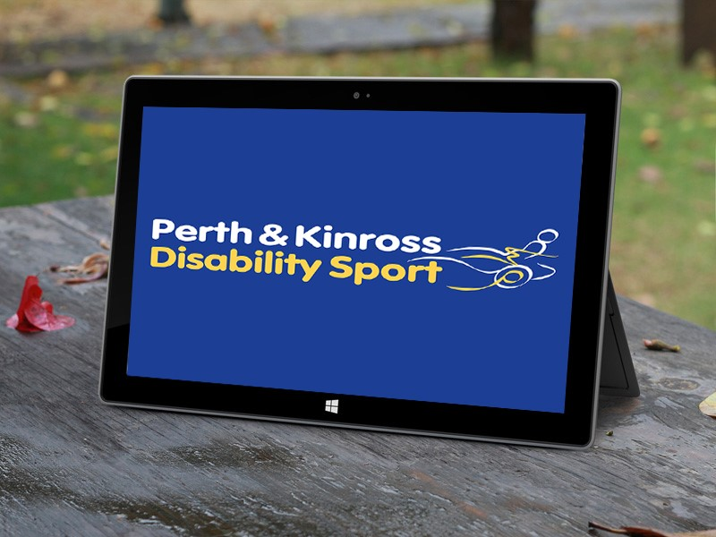 Image shows Perth and Kinross Disability Sport's Logo displayed on a Windows Surface Pro