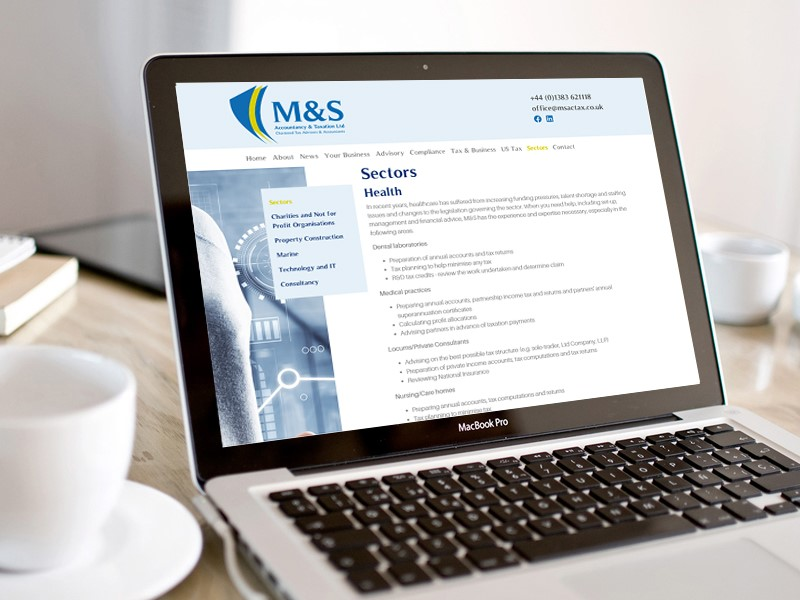 Image shows M&S Accountancy and Taxation Ltd's website on a Macbook Pro